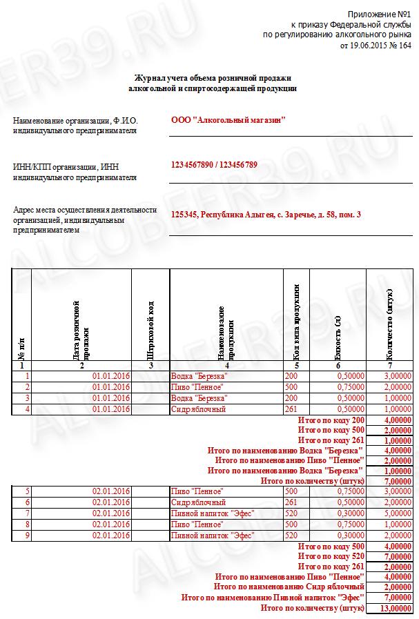 Пример заполнения Журнала учета объема розничной продажи алкогольной и спиртосодержащей продукции